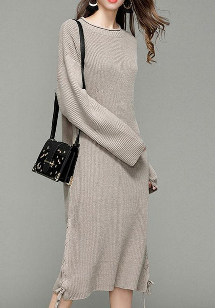 ByChicStyle Casual Beige Drawstring Round Neck Long Sleeve Fashion Sweaters Maxi Dress
