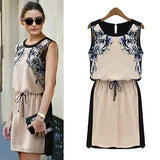ByChicStyle Casual Beige Floral Patchwork Pattern Drawstring Chiffon Mini Dress