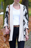 ByChicStyle Beige Geometric Print Aztec Irregular Batwing Long Sleeve V-neck Loose-fitting Casual Fashion Cardigan Sweater