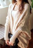 ByChicStyle Casual Beige Irregular Oversize Slit Long Sleeve Casual Cardigan Sweater