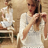 Streetstyle  Casual Beige Lace Hollow-out Wavy Edge See-through 3/4 Sleeve Mini Dresse