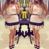 ByChicStyle Casual Beige Patchwork Condole Belt Lace Draped V-neck Mini Dress