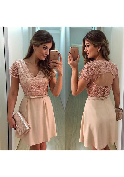 Streetstyle  Casual Beige Patchwork Lace Cut Out Bow V-neck Backless Mini Dress