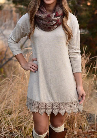 Casual Beige Patchwork Lace Draped Round Neck Long Sleeve Mini Dress