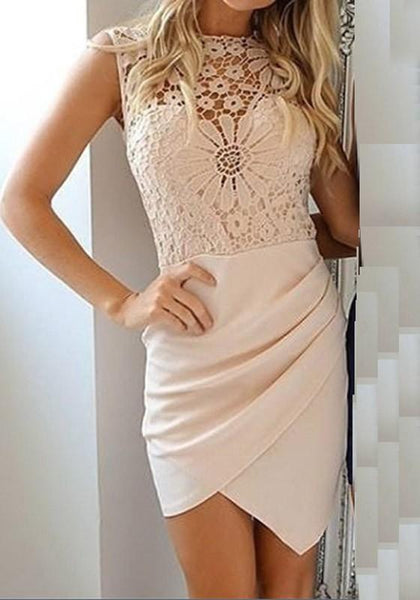 Casual Beige Patchwork Lace Round Neck Polyester Mini Dress