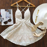 Streetstyle  Casual Beige Plain Condole Belt Lace Plunging Neckline Mini Dress