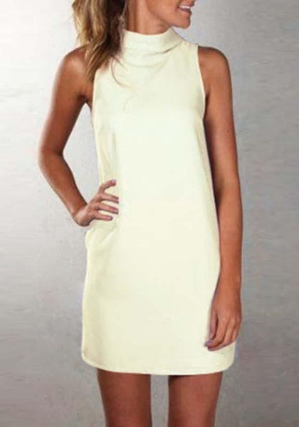 Casual Beige Plain High Neck Sleeveless Casual Mini Dress