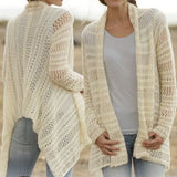 ByChicStyle Casual Beige Plain Irregular Hollow-out Long Sleeve Fashion Polyester Cardigan Sweater