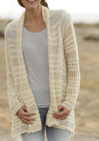 Casual Beige Plain Irregular Hollow-out Long Sleeve Fashion Polyester Cardigan Sweater