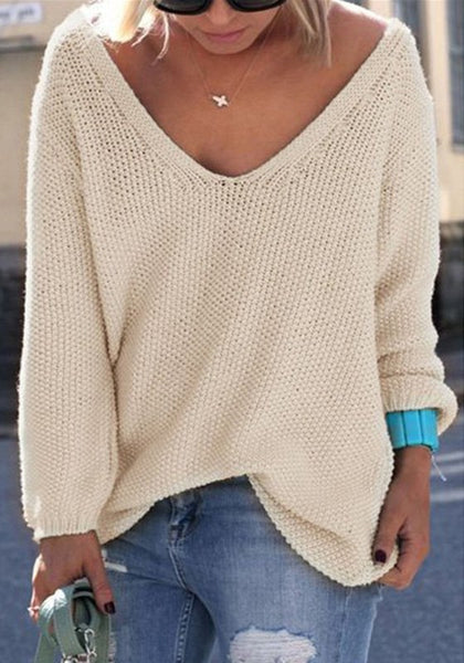 Casual Beige Plain V-neck Long Sleeve Casual Loose Pullover Sweater