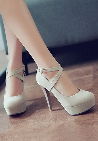 Casual Beige Round Toe Stiletto Buckle Casual High-Heeled Shoes