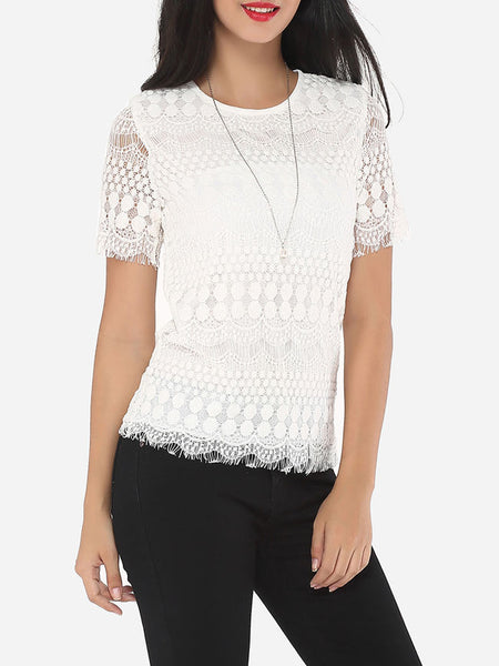 Lace Plain Exquisite Round Neck Short-sleeve-t-shirt - Bychicstyle.com