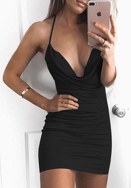 Streetstyle  Casual Black Backless Tie Back Halter Neck Bodycon Club Mini Dress