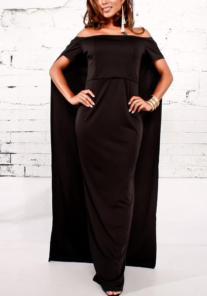 Streetstyle  Casual Black Bandeau Backless Cape Off Shoulder High Waisted Party Maxi Dress