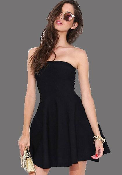 Black Bandeau Pleated Blackless Off Shoulder Homecoming Party For Teens Tutu Mini Dress