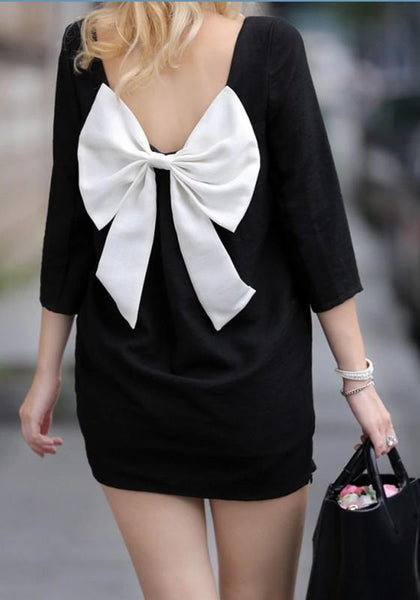 Casual Black Bow Zipper Square Neck Elbow Sleeve Sweet Mini Dress