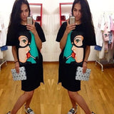 ByChicStyle Casual Black Cartoon Pattern Round Neck Streetwear Cotton Mini Dress