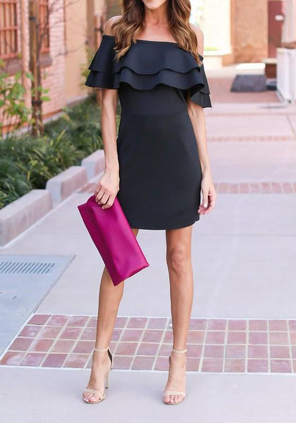Streetstyle  Casual Black Cascading Ruffle Bandeau Boat Neck Off Shoulder Backless Bodycon Mini Dress