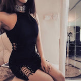 Streetstyle  Casual Black Cut Out Buttons Halter Neck Bodycon Club Mini Dress