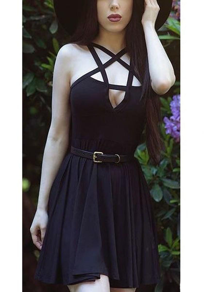 ByChicStyle Casual Black Cut Out Spaghetti Strap Backless Draped A-line Mini Dress