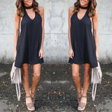 ByChicStyle Casual Black Cut Out U-neck Sleeveless Casual Mini Dress
