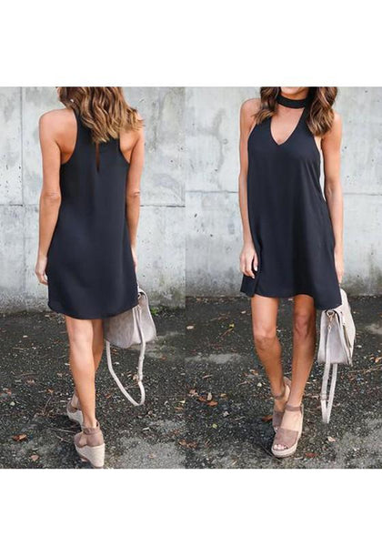 Casual Black Cut Out U-neck Sleeveless Casual Mini Dress