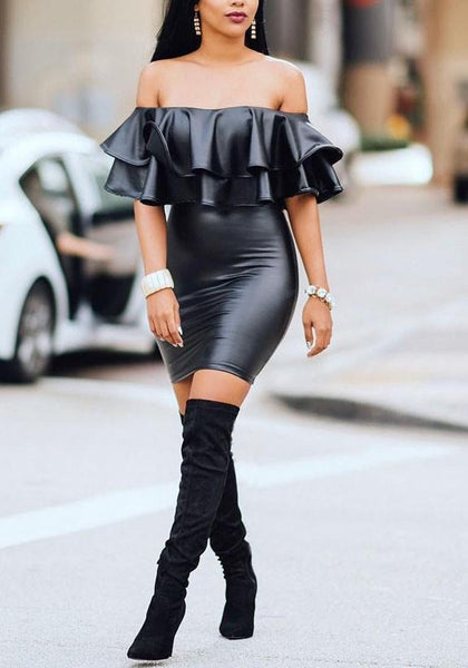 Streetstyle  Casual Black Double Ruffle Backless Off Shoulder PU-Leather Bodycon Party Mini Dress