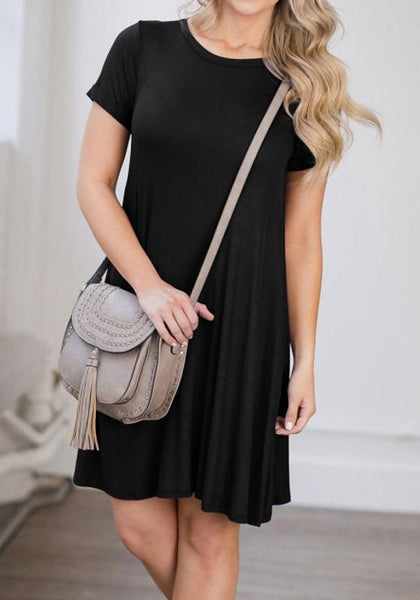 Casual Black Draped Round Neck Short Sleeve Casual Mini Dress
