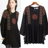 ByChicStyle Black Embroidery Loose Collarless Round Neck Long Sleeve Casual Polyester Mini Dress