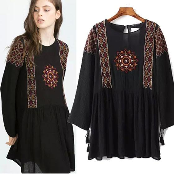 Black Embroidery Loose Collarless Round Neck Long Sleeve Casual Polyester Mini Dress