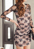 ByChicStyle Casual Black Floral Hollow-out Lace Backless Round Neck Mini Dress