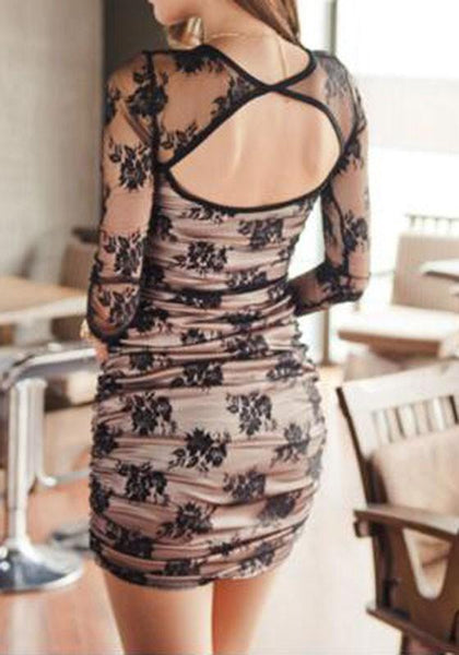 Casual Black Floral Hollow-out Lace Backless Round Neck Mini Dress