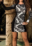 ByChicStyle Black Floral Circle Print Round Neck Long Sleeve Mini Dress