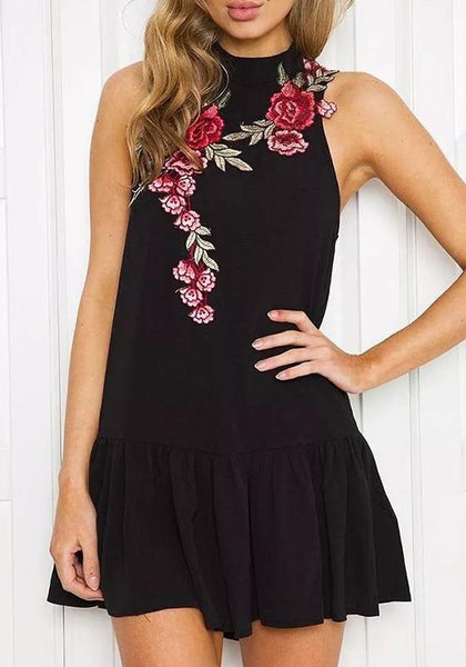 Casual Black Floral Ruffle Embroidery Cut Out Mini Dress