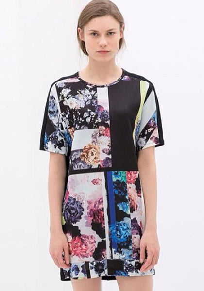 Casual Black Floral Short Sleeve Loose Cotton Blend Dress