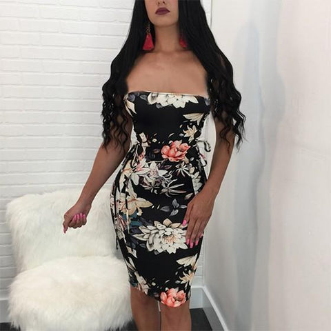 Black Flowers Off Shoulder Print Grenadine Homecoming Party Backless Clubwear Mini Dress