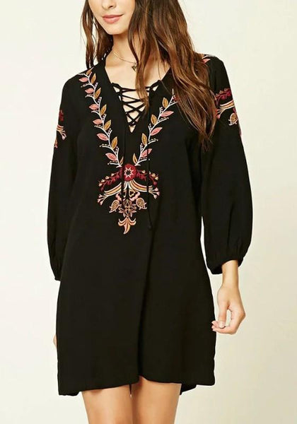 Casual Black Flowers Embroidery Lace-up Deep V-neck Long Sleeve Mexican Mini Dress