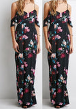 ByChicStyle Casual Black Flowers Print Draped V-neck Open Back Off-Shoulder Maxi Dress