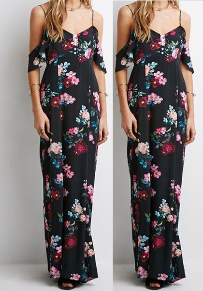 Casual Black Flowers Print Draped V-neck Open Back Off-Shoulder Maxi Dress