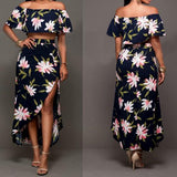 ByChicStyle Black Flowers Print Irregular Side Slit Off-shoulder Two Piece Bohemian Maxi Dress