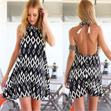 ByChicStyle Black Geometric Print Tassel HalterLace Off Shoulder Backless Fashion Sweet Mini Dress