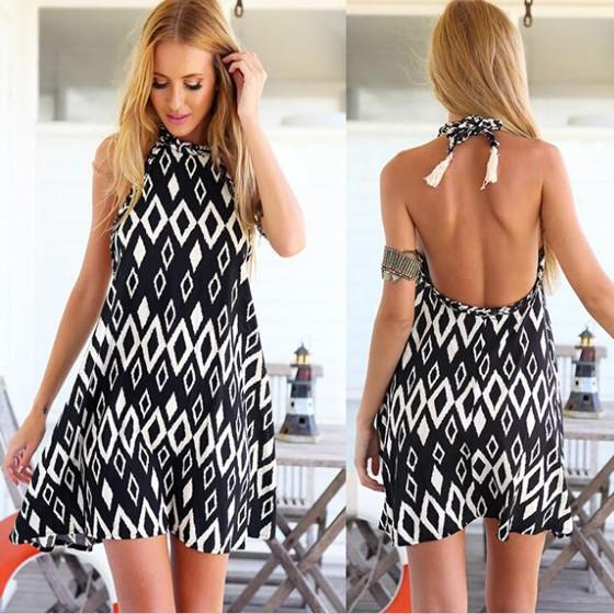 Black Geometric Print Tassel HalterLace Off Shoulder Backless Fashion Sweet Mini Dress