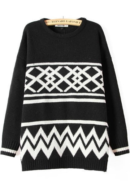Casual Black Geometric Print Vintage Pullover Sweater