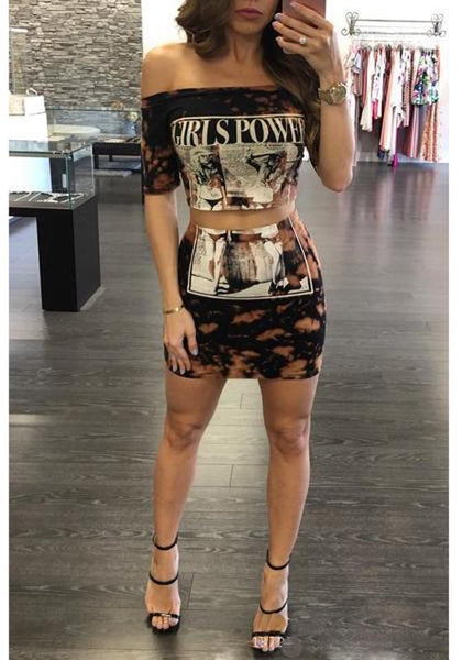 Black Girls Power Print Two Piece Off-shoulder Cut Up Bodycon Bleach Band Mini Dress