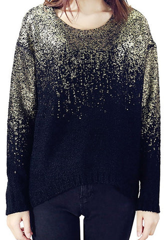Black-Golden Patchwork Irregular Back Slit Round Neck Dolman Sleeve Pullover Sweater