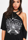 ByChicStyle New Women Black Graphic Print Distressed Half Sleeve One-shoulder Oversized T-shirt Mini Dress
