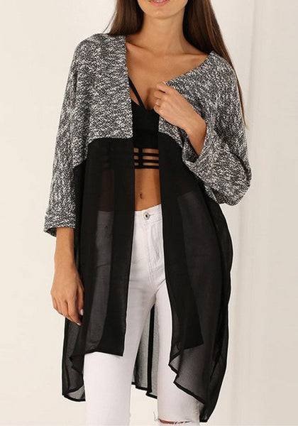 Black-Grey Patchwork Chiffon Splicing Grenadine Long Sleeve Casual Cardigan Sweater