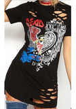 ByChicStyle Black Graphic Hellraiser Eagle Distressed Rock Ripped Heart Hollow-out T-Shirt Mini Dress