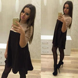 ByChicStyle Casual Black Khaki Patchwork Draped Long Sleeve Casual Mini Dress