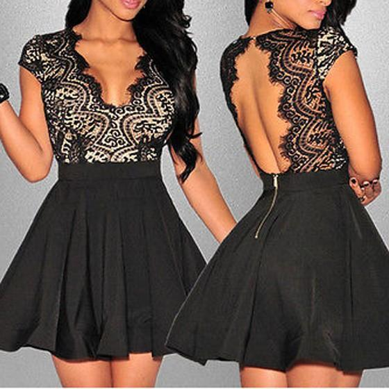 Black Lace Hollow-out Pleated Backless Deep V-neck Cute Homecoming Skater Mini Dress